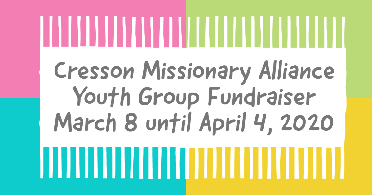 Cresson Missionary Alliance Church Youth Group Photo Frame Fundraiser. March 8th to April 4th 2020. See prices on photos. Contact Colleen Ferrari via FB messenger if you have any questions.