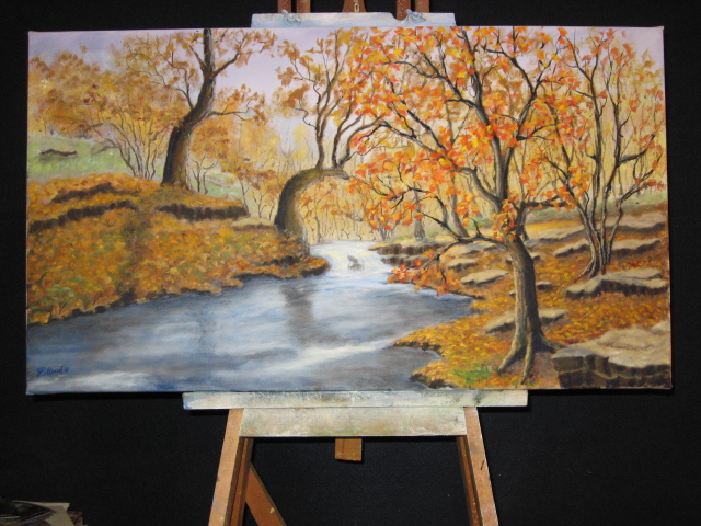 Autumn Landscape is an oil painting, 18 x 32 inches, on stretched canvas