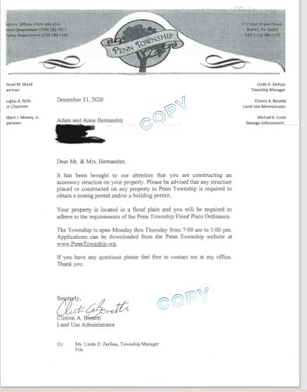 Penn Township Butler County PA Bully letter to the Hernandez Family