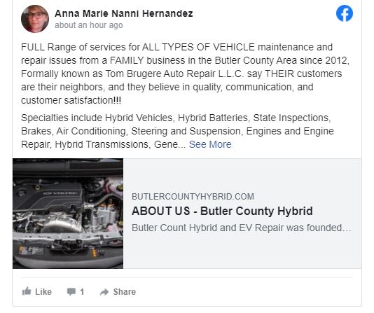 ALL TYPES of Vehicles need a Mechanic just like the ones at Butler County Hybrid